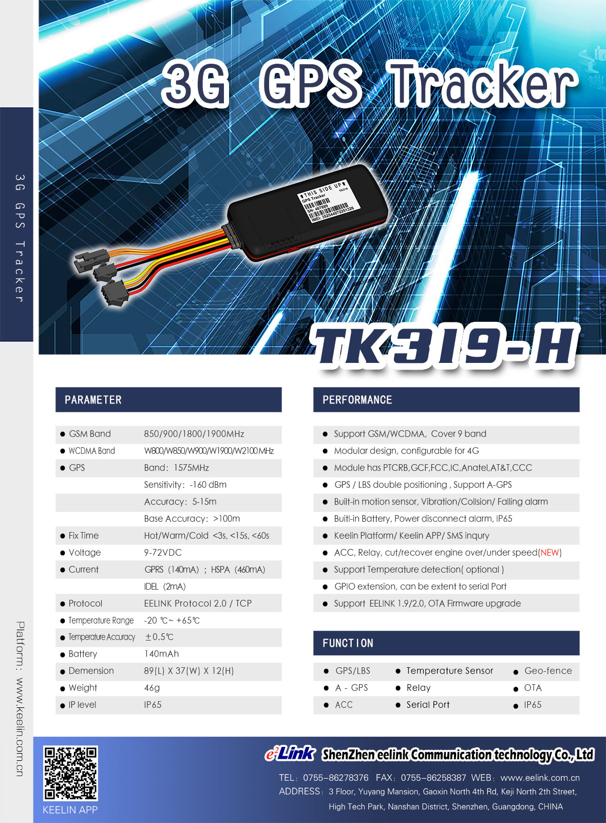 3G GPS Tracker TK319-H Specification